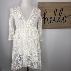 Free People sheer lace long sleeve tunic dress